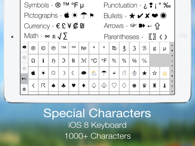 Special Characters Keyboard Symbols Pictographs Currency Math