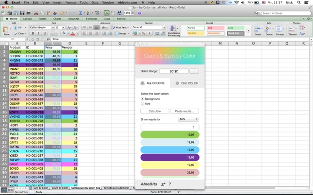 Count & Sum by Color for Microsoft Excel on the Mac App Store
