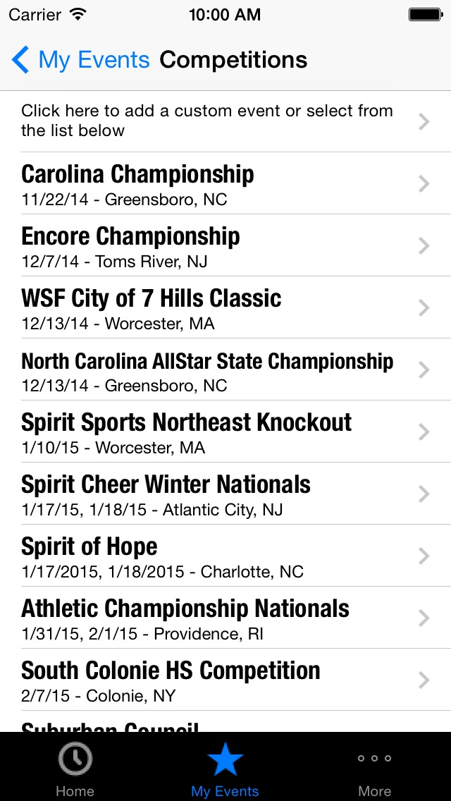 Screenshot #1 for 2015-16 All Star Cheerleading and Dance Competition Schedule & Countdown