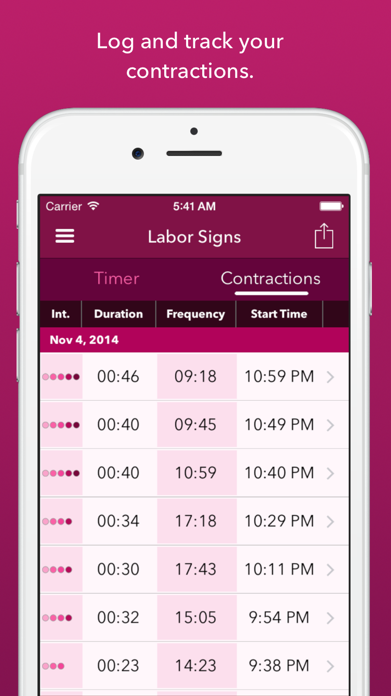 Labor Signs Contraction Timer Screenshot