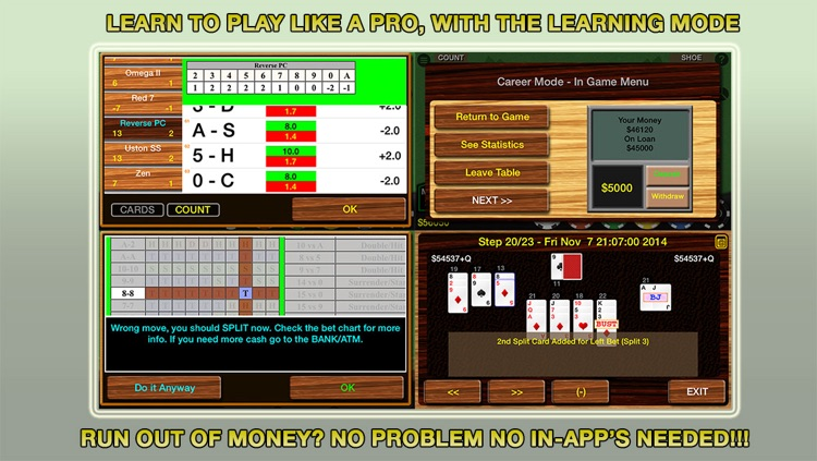 Blackjack 21 Pro Multi-Hand FREE + (Blackjack Pass/Spanish 21/Super 31) screenshot-3