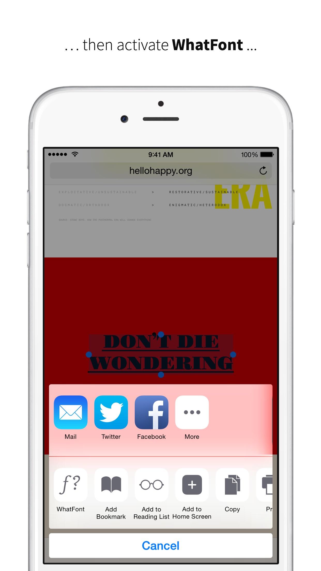 Screenshot do app WhatFont