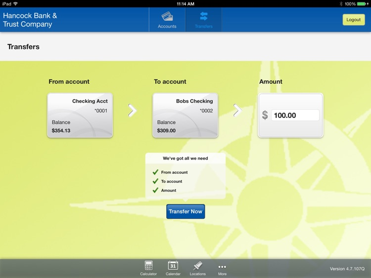Hancock Bank & Trust Company for iPad screenshot-3