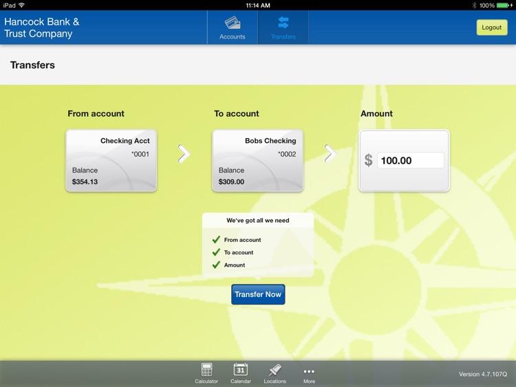 Hancock Bank & Trust Company for iPad screenshot-3