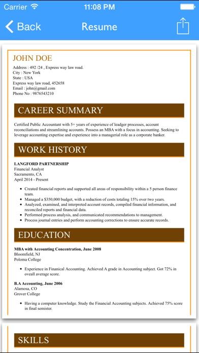 Free Resume Builder App Professional Cv Maker And Resumes Designer