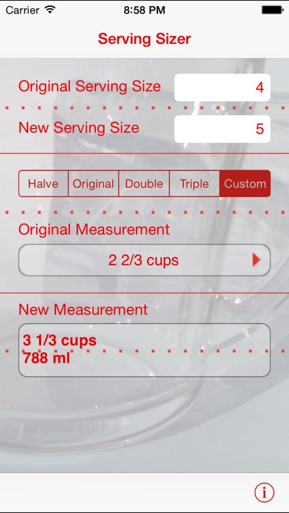 Serving Sizer recipe converter