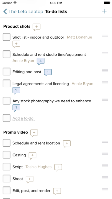 Basecamp 2 for iPhone screenshot