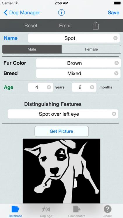 Dog Soundboard 4 Dogs (Chihuahua, German Shepherd, Labrador, Rottweiler) with Animal Tracking, & Dog Age Calculator