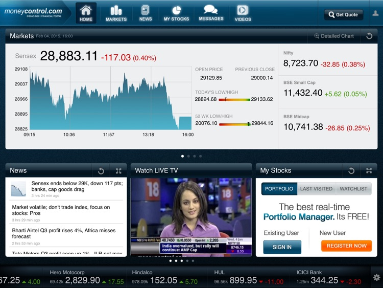 Moneycontrol Markets on iPad