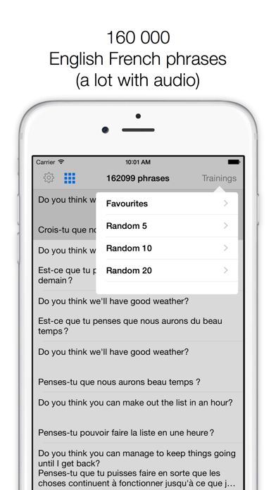 Phrases ENGLISH-FRENCH screenshot one