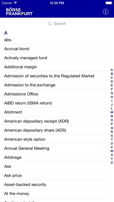 Exchange Glossary Screenshot