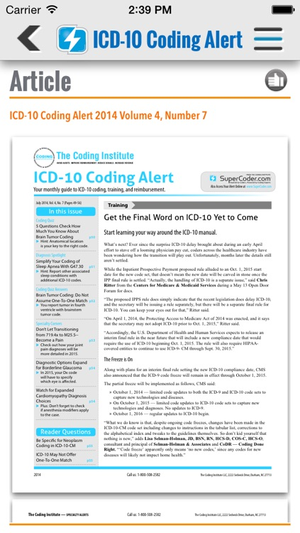 ICD-10 Coding Alert screenshot-2