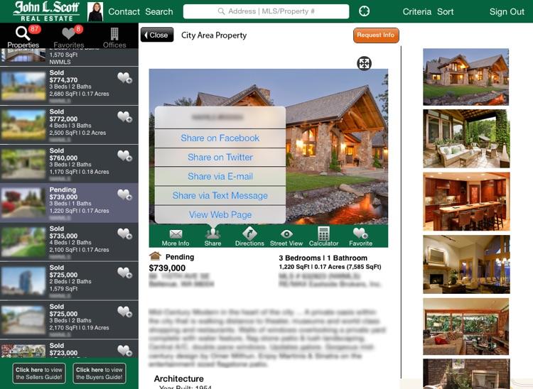John L. Scott Real Estate GPS Home Search for iPad