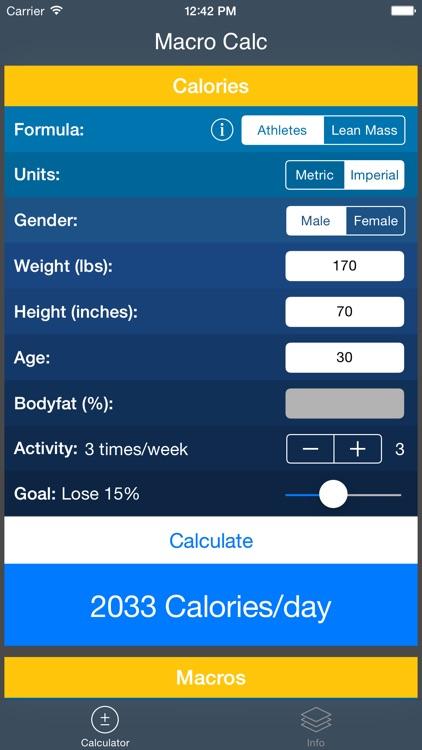 IIFYM - Macro and Calorie Calculator