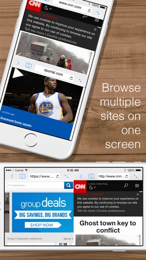 Split Web Browser: Fast Multitasking and Full Screen Multiple Tab Browsing for iPhone and iPad Screenshot