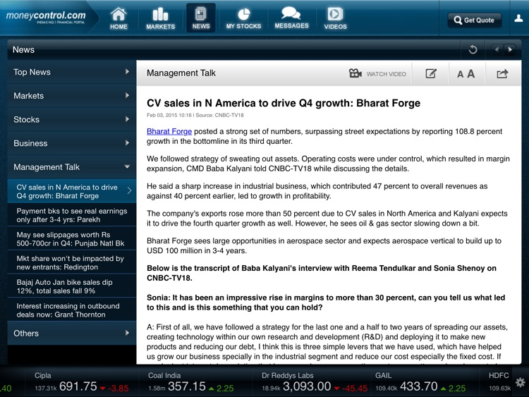 moneycontrol for iPad - Financial Markets and Business News screenshot-3