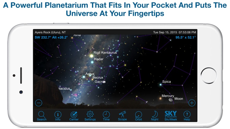 SkySafari 4 Plus: Map the Universe!  Discover Sun, Moon, Mars, Stars, Planets, and Satellites with your telescope and NASA space missions!
