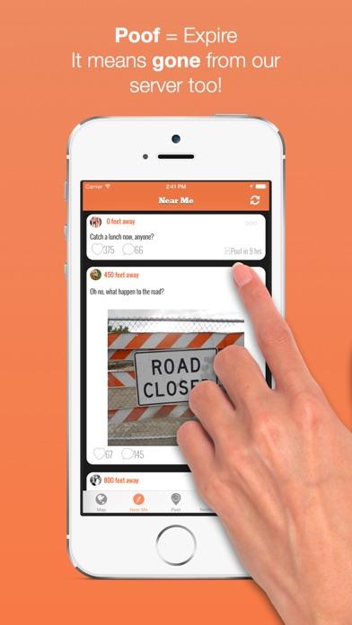 Poofr - Self Destructive Location Based Social Network screenshot four