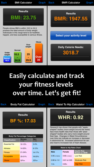 ‎Fitter Fitness Calculator & Weight Tracker - Personal Daily Weight Tracker and BMI, BMR, Body Fat% & Waist to Hip Ratio Manager Screenshot
