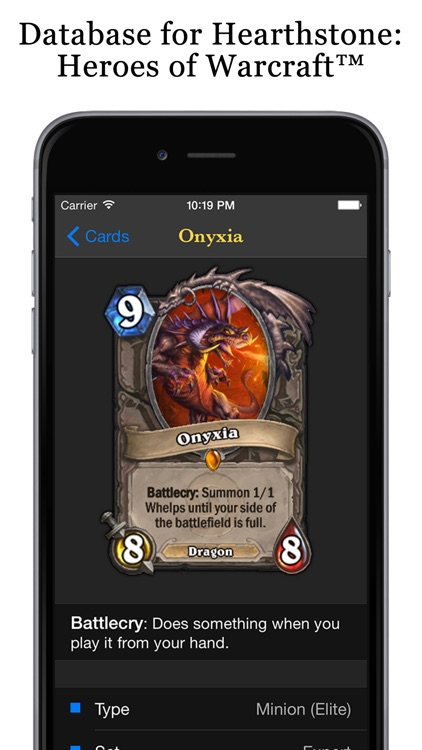Database for Hearthstone: Heroes of Warcraft™