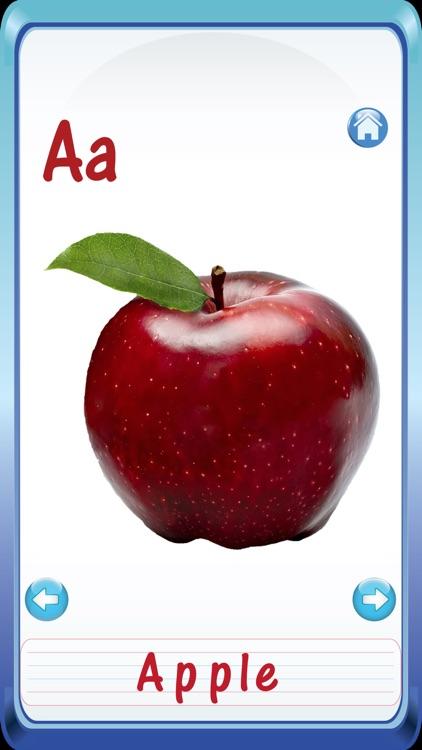 Kids Fruits & Vegetables ABC Alphabets flash cards for preschool kindergarten Boys & girls