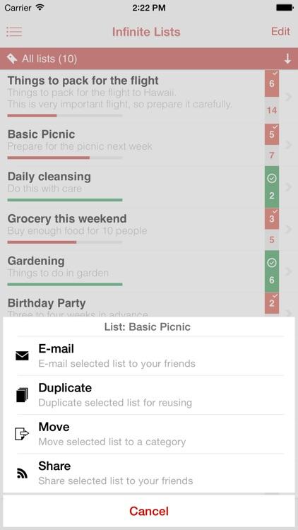 Infinite List - The Advanced Tasks, To-do & Checklist screenshot-3