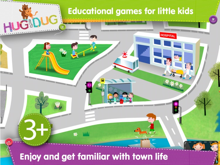 Little Town Explorer -  HugDug educational activity game for little kids.