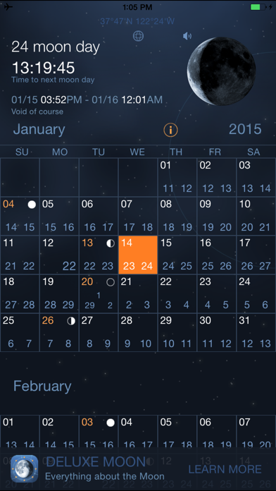 Moon Days - Lunar Calendar and Void of Course Times Screenshot