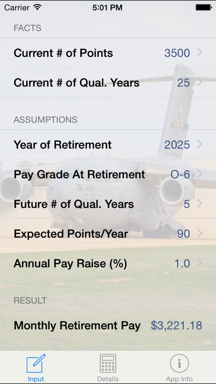 US Military Reserve Retirement Calc