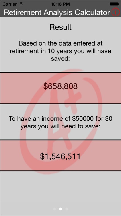 Retirement Analysis Calculator