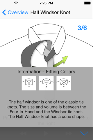 Screenshot of vTie Premium - tie a tie guide with style for occasions like a business meeting, interview, wedding, party