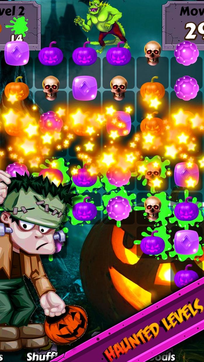 Halloween Candy World Adventure - Pop the gummy drop & match yummy treats to collect skull gems Screenshot