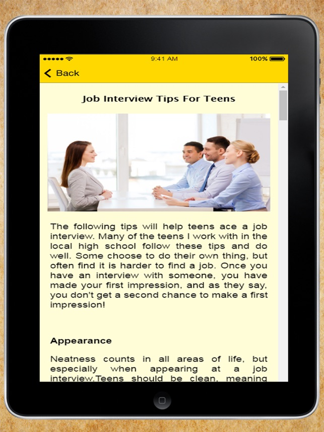 interview tips for teens