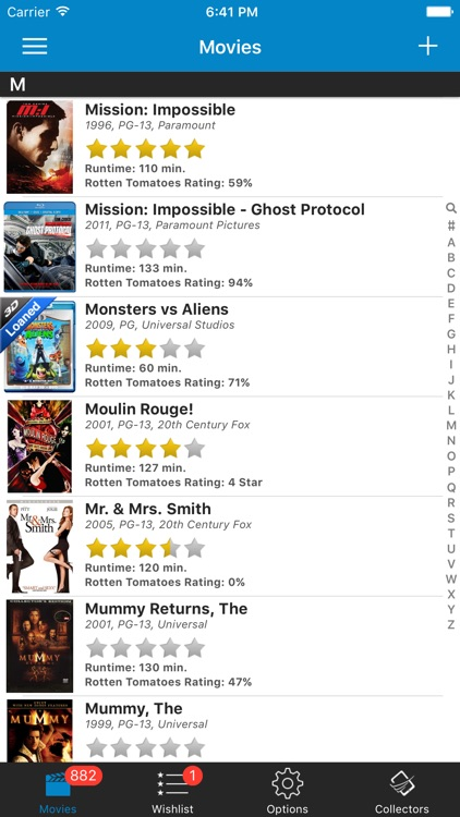 Movie Database - Blu-ray DVD My Movies UPC Library