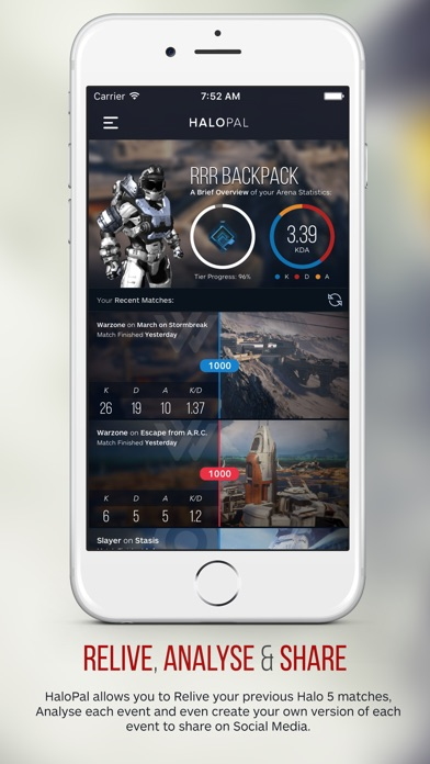 HaloPal - Relive, Analyse & Share. An Unofficial Companion App for Halo 5. app image