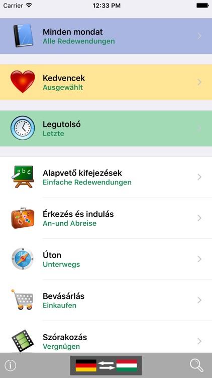 German / Hungarian Talking Phrasebook Translator Dictionary - Multiphrasebook screenshot-0