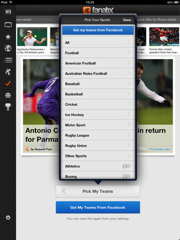fanatix for iPad screenshot 1
