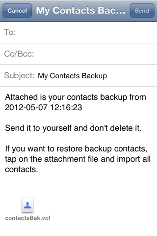 Backup My Contacts Free - Easily and Safely Store All Your Contacts screenshot 3