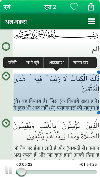 Quran Audio mp3 in Hindi (Lite)