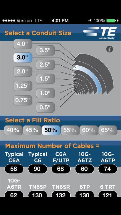 Conduit Fill Capacity Calculator by TE Connectivity Ltd.