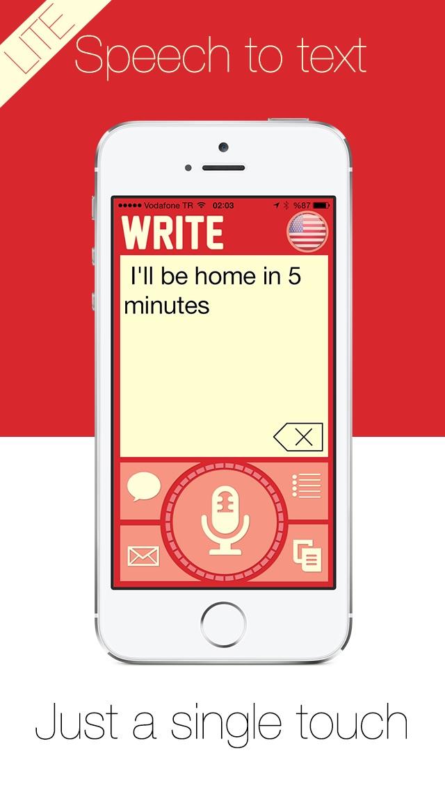 Write Lite -  一鍵式語音到文本聽寫,語音識別,直接短信和電子郵件提醒。屏幕截圖1