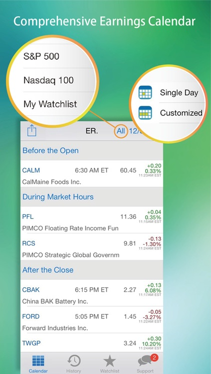 Earnings : Calendar, History, Reminder, Watch list with Next Earning Date & Real-Time Stock Quote, Chart, News, Insider Transactions. screenshot-0