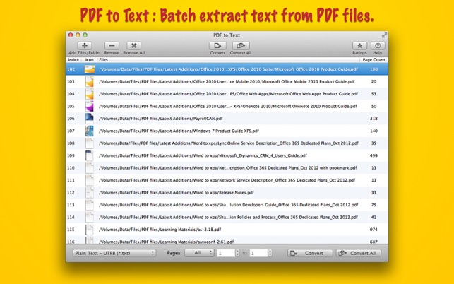 PDF to Text : Batch Extract Text from PDF files on the Mac