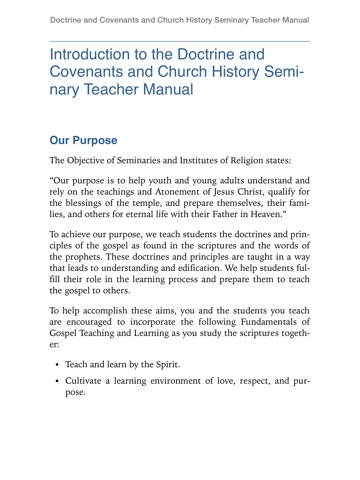 Doctrine and Covenants and Church History Seminary Teacher