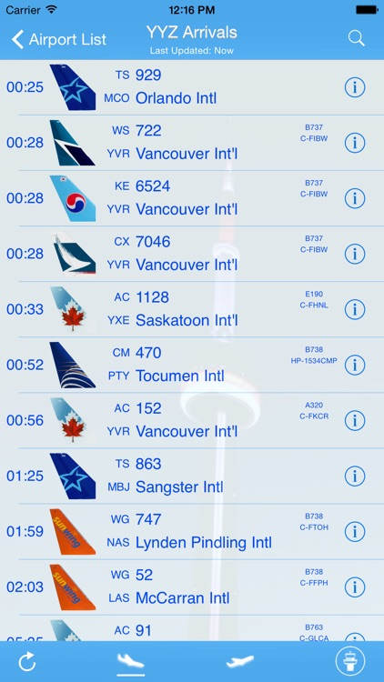 Canada Airport - iPlane Flight Information