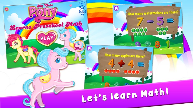 My Cute Pony Learns Preschool Math Games for Kids