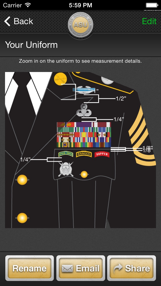 Screenshot for iUniform ASU - Builds Your Army Service Uniform in Indonesia App Store