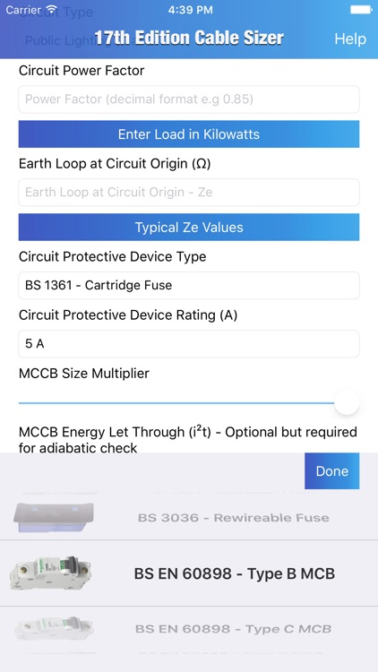 17th Edition Cable Sizer - Cable Size Calculator