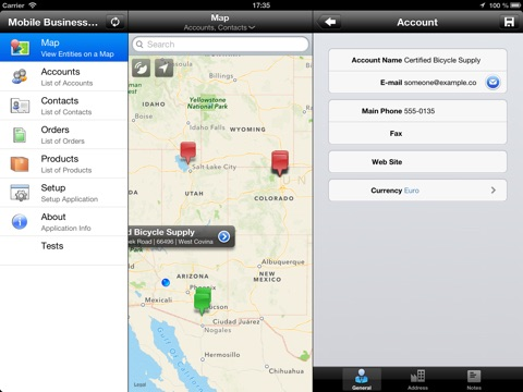 Screenshot of Mobile Business Surfer