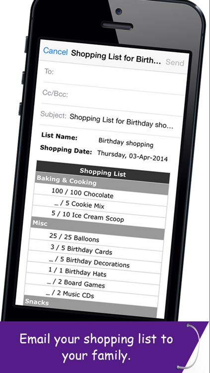 Shopping Planner - Grocery List Items Organizer